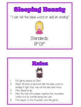 SLEEPING BEAUTY Inflectional Word Endings - ELA First Grade Game - Word Work