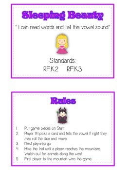 SLEEPING BEAUTY Vowels- ELA First Grade Folder Game - Word Work Center