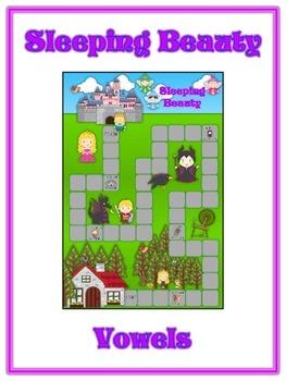 SLEEPING BEAUTY Vowels- ELA First Grade Folder Game - Word
