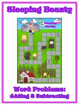 SLEEPING BEAUTY - Word Problems Adding & Subtracting - Math Folder Game