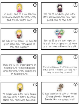 SLEEPING BEAUTY - Word Problems Adding & Subtracting - Math Folder Game