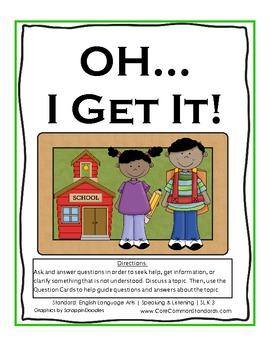 SL.K.3 Kindergarten Common Core Worksheets, Activity, and Poster
