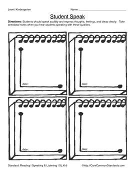 SL.K.6 Kindergarten Common Core Worksheets, Activity, and Poster