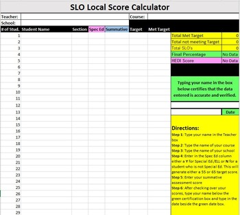 SLO Achievent Score Calculator-SCHOOL WIDE LICENSE