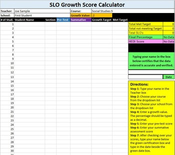 SLO Growth Score Calculator-SCHOOL WIDE LICENSE