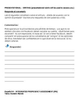 SLO - IPA Spanish 3 Tema Nuestro Mundo