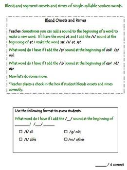 SLO Pre & Post Test for RF.K.2 Foundational Skills/Phonological Awareness & Doc.