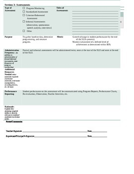 SLO Template for Students Receiving Speech and Language Services