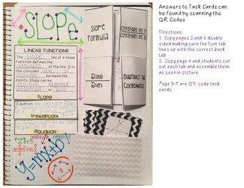 SLOPE INB Page, Foldable, Flip Book and 12 QR Code Task Cards