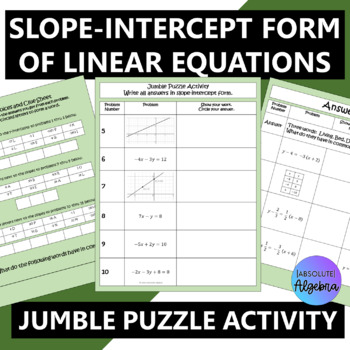Writing Slope-Intercept Form from Linear Equations, Graphs, and Tables