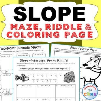 SLOPE Maze, Riddle, & Coloring Page (Fun MATH Activities)