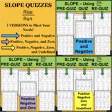 SLOPE QUIZZES BUNDLE Pos Neg Zero Undefined Linear Equations Rise Over Run