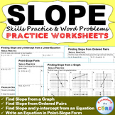 SLOPE & y-INTERCEPT Homework Worksheets: Skills Practice & Word Problems