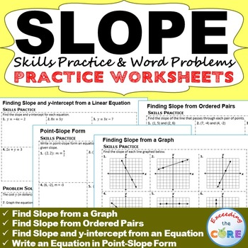Slope Y Intercept Homework Worksheets Skills Practice Word Problems