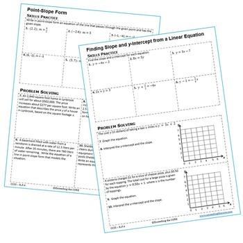 SLOPE & y-INTERCEPT Homework Worksheets: Skills Practice & Word Problems