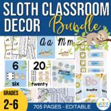 Sloth Classroom Decor Theme Bundle Back to School