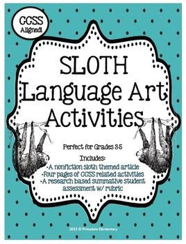 Nonfiction Animal Mini Unit (Sloth) w/ Research Project