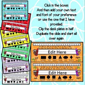 SLOTHS - Editable Nameplates, Desk Plates, Name Tags, Cubby Tags