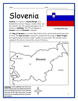 SLOVENIA - Printable handout with map and flag