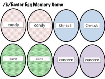 Articulation Easter Egg Matchup and Memory Game /k/ sound