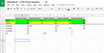 SLP Attendance in Google Docs (for 90-minute sessions)