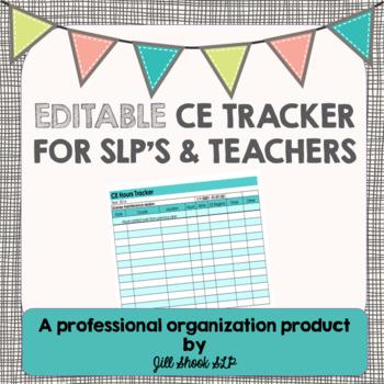 Editable CEU tracker- SLP and Teacher FREEBIE