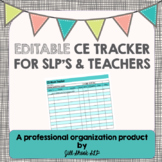 Editable CEU tracker- SLP and Teacher FREEBIE