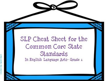 SLP Cheat Sheet for the Common Core State Standards- Gr 1