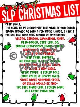 SLP Christmas List (FUN FREEBIE)
