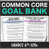Speech Therapy Common Core Goal Bank Packet 6-12th Grade Bundle