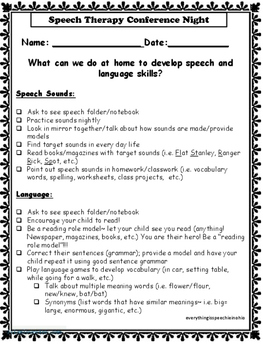 SLP Conference Night Checklist/Form