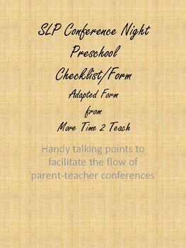 SLP Conference Night Form Preschool Edition