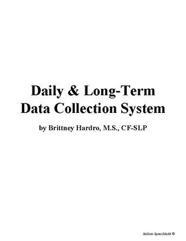 SLP Data Collection Bundle- Daily Data Forms & Year-Long Attendance/Progress Log