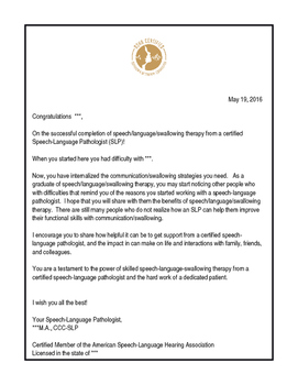 SLP Discharge/Dismissal Congratulatory Letter (and PR Empowerment Tool)
