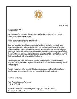 SLP Discharge/Dismissal Congratulatory Letter (and PR Empo