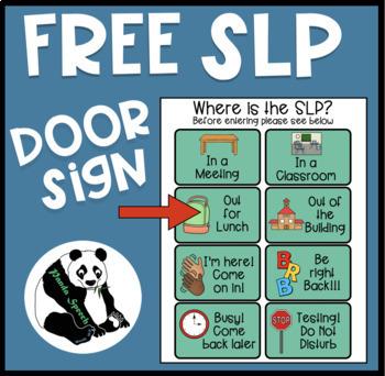 slp door sign freebie by panda speech teachers pay teachers