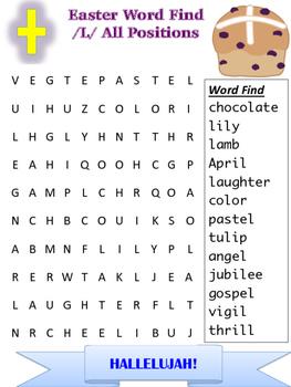SLP Easter Articulation /l/ word find * L phonemes *