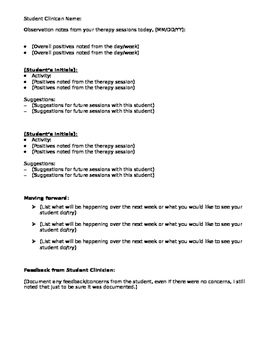 SLP Student Teaching Editable Daily Therapy Observation Template for Supervisors
