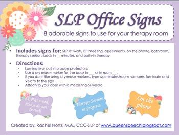 Slp Office Signs By Queen S Speech Teachers Pay Teachers