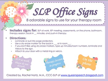 SLP Office Signs