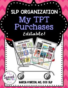 SLP Organization: My TPT Purchases Editable!