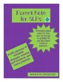 SLP Parent Communication Note