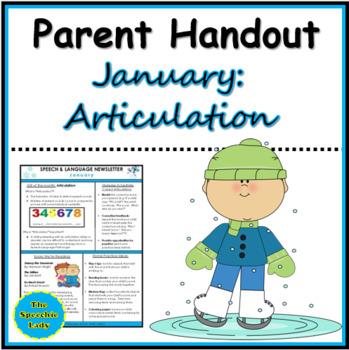 SLP Parent Handout for January (Articulation)