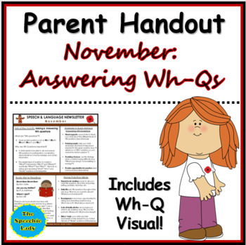 SLP Parent Handout for November (Asking & Answering Wh-questions)