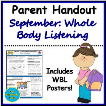 SLP Parent Handout for September (Whole Body Listening)
