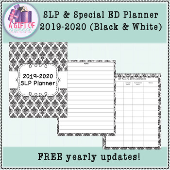 SLP Planner (Free yearly updates) Black & White - Special Education