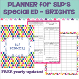 SLP Planner (free yearly updates) Bright & Fun - Special Education