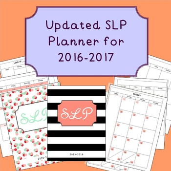 Updated SLP Planner/Calendar 2016-2017