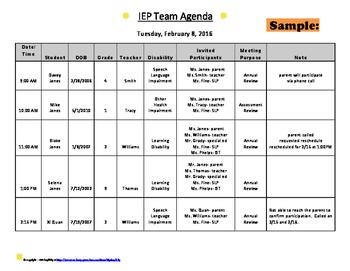 IEP or 504 Meeting Agenda template