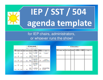 Iep Or 504 Meeting Agenda Template By Slpsimplicity Tpt